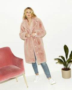 Pink Stand Official Teddy Coat on Emma Rose Style