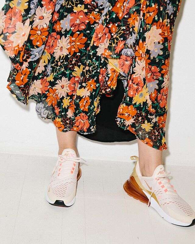 how to style nikes with a dress