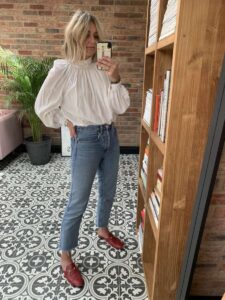 Jeans & a White Blouse on Emma Rose Style