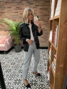 Leather Shirt & Denim on Emma Rose Style