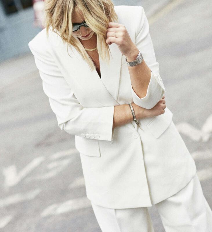 White Frankie Shop Blazer on Emma Rose Style
