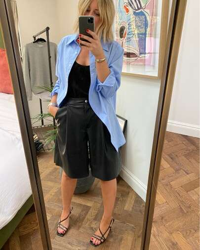 how to style leather topshop shorts on emma those style