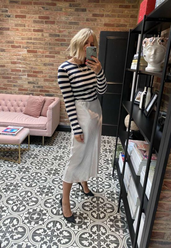 How to style a slip skirt with striped on emma rose style