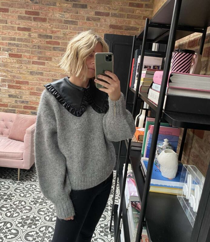 Grey Knit with Collar from H&M Emma Rose Style