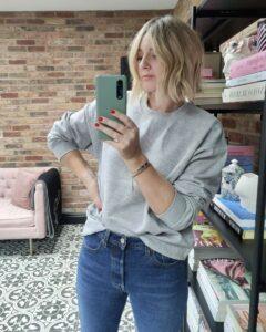 Grey College Sweatshirt on Emma Rose Style