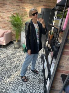 Blazer and Vintage Jeans look on Emma Rose Style