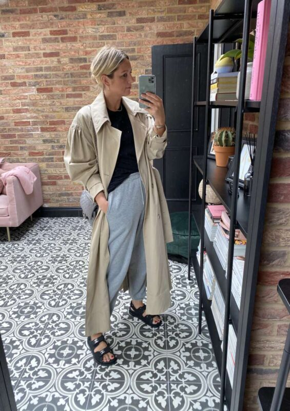 H&M puff sleeve trench coat on Emma Rose Style