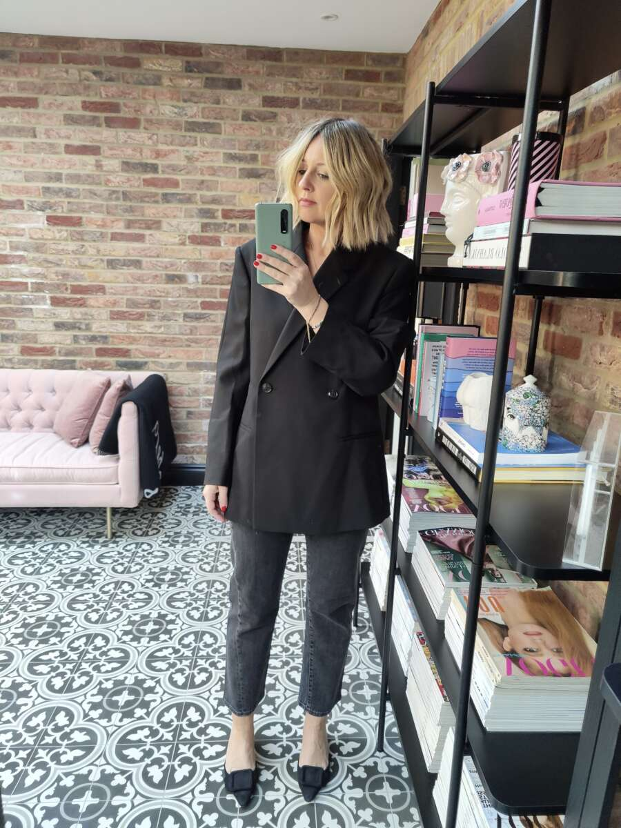 Toteme jeans and blazer on Emma Rose Style