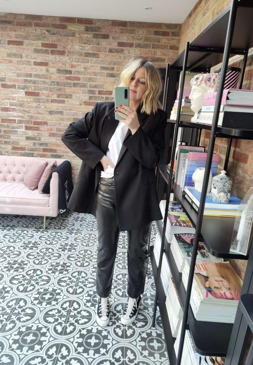 Nanushka Vegan Leather Trousers on Emma Rose Style