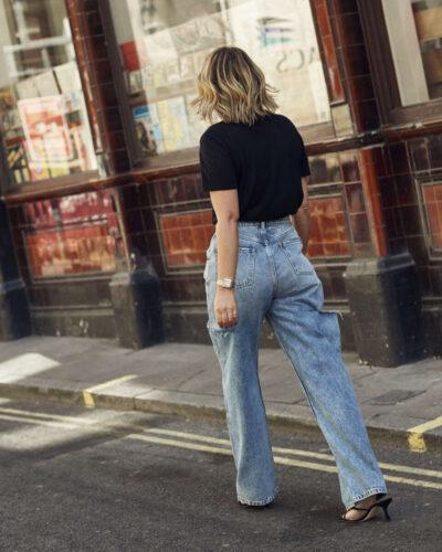 Maison Margiela Denim Jeans with Rips on Emma Rose Style