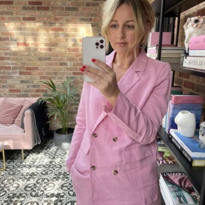 Amazon Fashion Pink Suit on Emma Rose Style