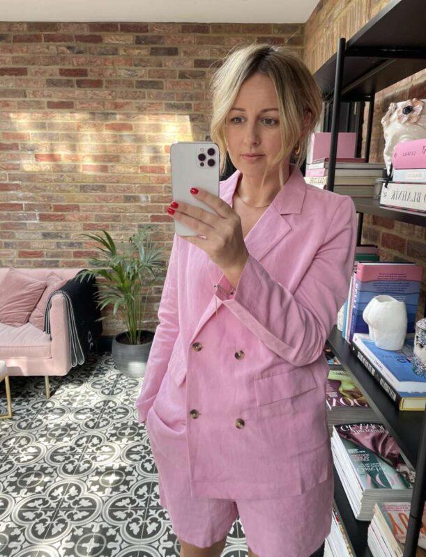 Amazon Fashion Pink Suit on Emma Rose Style