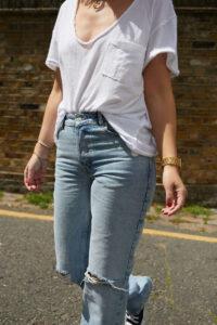 Free People White Tee on Emma Rose Style
