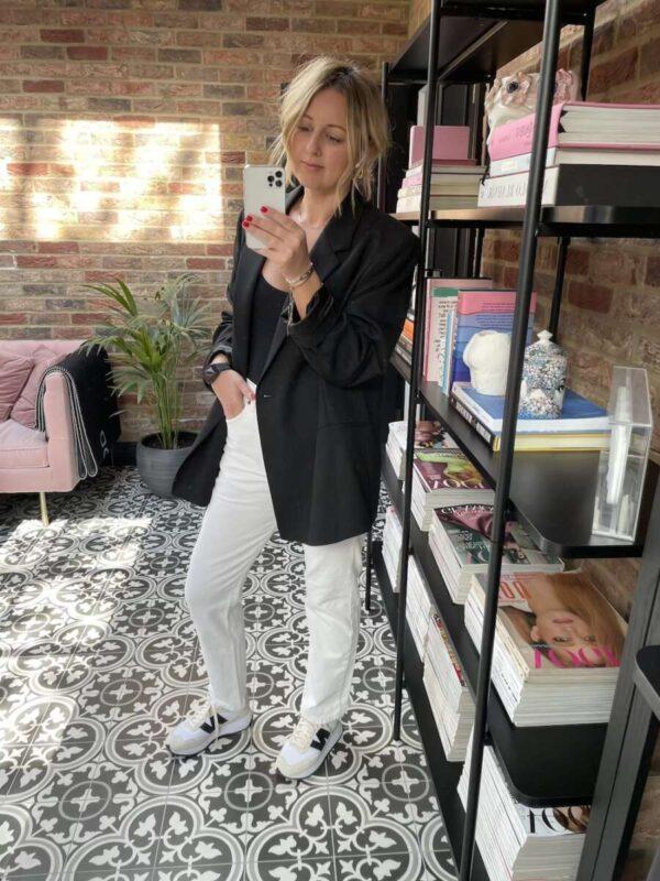 Team White jeans with Black Blazer on Emma Rose Style