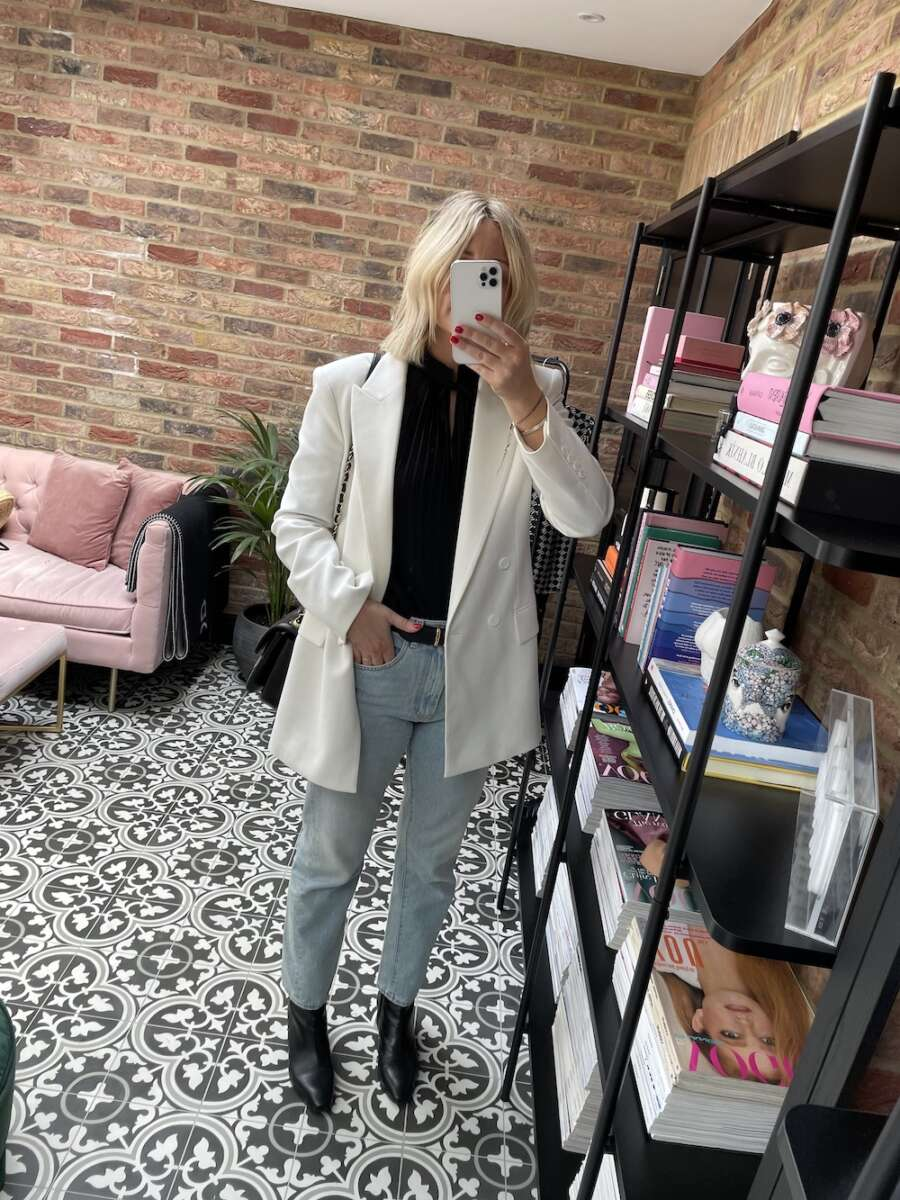 White Blazer on Emma Rose Style