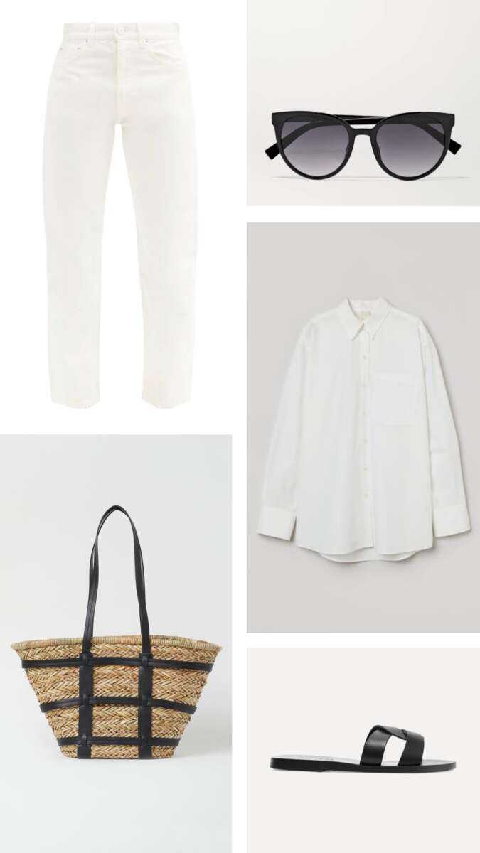 Tonal look for white jeans on Emma rose style